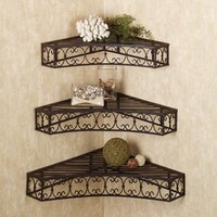 Amazon.com: Tuscan Wrought Iron Metal Corner Wall Shelves Set of 3: Home & Kitchen
