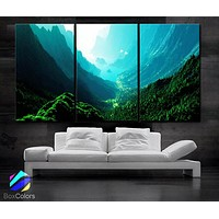 "LARGE 30""x 60"" 3 Panels Art Canvas Print Beautiful Nature mountain sunset canyon mountain river trees Wall Home (Included framed 1.5"" depth)"