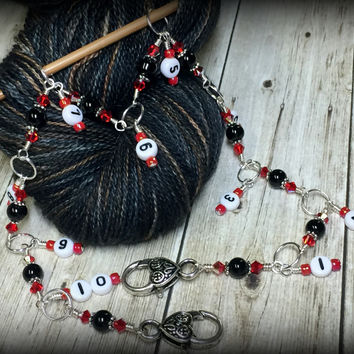 Beaded Row Counter Chain- Red & Black