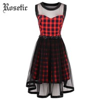 Gothic Dress Red Plaid Women Summer A Line Casual Goth Dresses Vintage O Neck Mesh Sleeveless Young Retro Gothics Dress