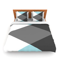 "Suzanne Carter ""Diamonds"" Gray Blue Twin Fleece Duvet Cover - Outlet Item"