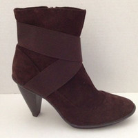 Libby Edelman Boots Womens Size 6.5 M Brown Suede 6 1/2 Perry Heels Leather