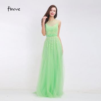 Finove Flowers Beading Prom Dresses 2017 New Arrival Lovely Bowl Belt A-Line Dresses for Women See-Through Tulle Long Dresses