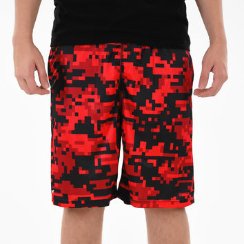 Digital Camo Red Beast Shorts