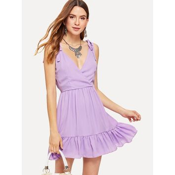 Purple Deep V-Neck Sleeveless Ruffle Wrap Shift Dress