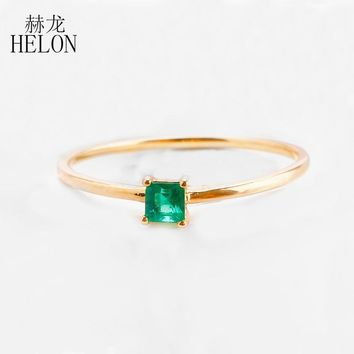 HELON Simple Solid 14k Yellow Gold 3.5mm natural emerald Beautiful Engagement Wedding Ring Gemstone Women's Trendy Jewelry ring