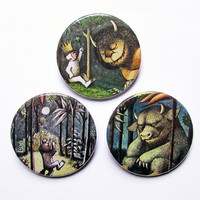 "Where the wild things are 3x1.5"" pinback button badge set from Stickerama"