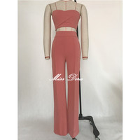 2017 Spring sexy Pink  orange Two Piece set  Stretch Crepe Pantsuit  High Waist Party Casual Loose Long Pants &  bustier top