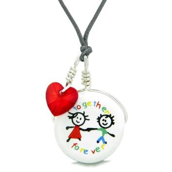 Handcrafted Cute Ceramic Charm Best Friends Together Forever Red Heart Amulet Pendant Adjustable Necklace