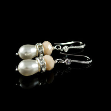 Pearl Earrings. White or Cream Swarovski Pearls. Teardrop Pearls. Rhinestones Spacer Beads. Nude Beige Beads Wedding Jewelry Bridesmaid Gift