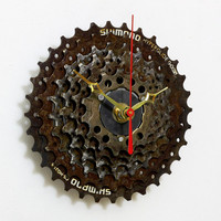 Unique Wall Clock - Bike Clock, Rusty Clock - Rusty Wall clock - Rusty Metal Clock - Cyclist Gift - Gear Clock - Husband Gift