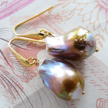 Baroque mauve pearl earrings, pearl jewelry, sterling silver 925 gold plated 18 k, wedding jewels, Made in Italy Sofia's Bijoux