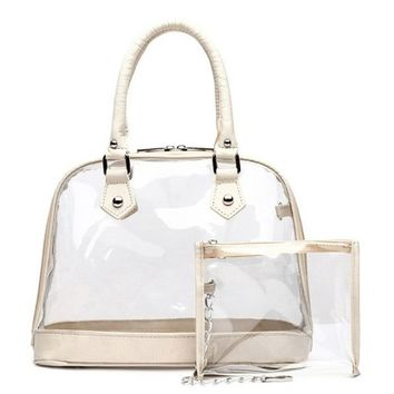 Clear See Through Front Pocket Tote Bag