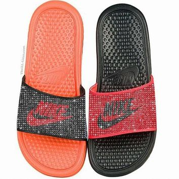 Nike Benassi JDI women's slide sandals(orange&black)