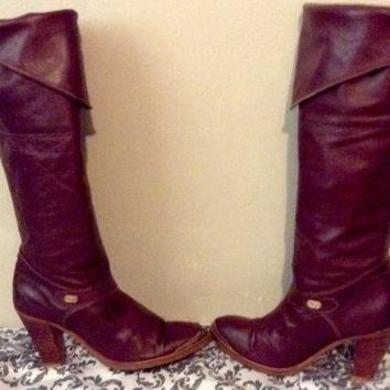 "DINGO WOMENS Burgandy LEATHER 15"" TALL COWBOY BOOTS SIZE US 7.5 M 3.5"" HEELS"
