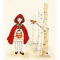 Children's Art  Red Riding Hood 8x10  Art Print by wonderlaneart