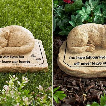Pet Memorial Stone Garden Sentiment Cat Dog Remembrance Statue Lawn Yard Decor