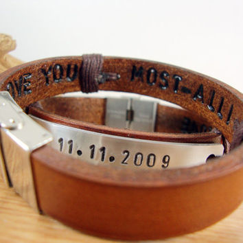 FREE SHIPPING - Couple Bracelet. Men Personalized Bracelet, Hand Stamped Bracelet,Men's Leather Bracelet. date and  Hidden Message Bracelet.