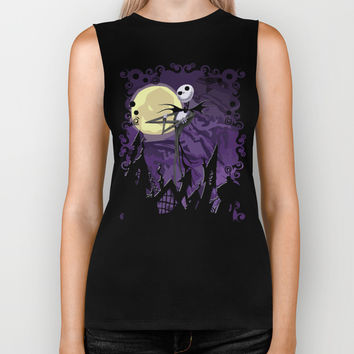 Halloween Purple Sky with jack skellington iPhone 4 4s 5 5c, ipod, ipad, pillow case tshirt and mugs Biker Tank by Three Second | Society6