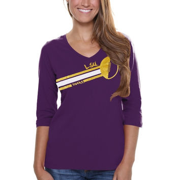 LSU Tigers Ladies Football Glitter Half Sleeve V-Neck T-Shirt - Purple