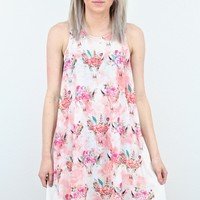 Wild + Free Bull Skull Floral Crown Suedette Dress {Pink Mix}