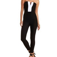 Plunging Strapless Tuxedo Jumpsuit by Charlotte Russe - Black/White