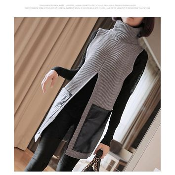 2017 Autumn Winter New Brand Women Pullover Cardigan Long Split Turtleneck Sweater Sleeveless Fashion Sweater Women Q1572