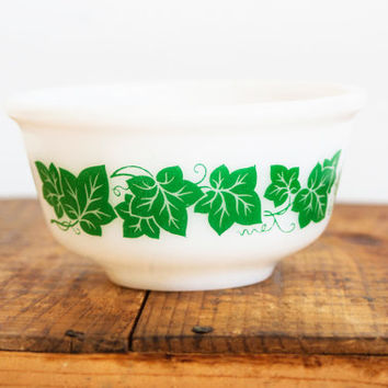 Vintage Hazel Atlas Green Ivy Bowl, Miniature White Glass Prep Mixing Bowl, HA Logo, Holiday Baking 1950s Kitchen