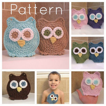 PDF Owl Washcloth Bath Mitts Crochet Pattern