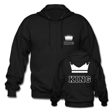 Cool Cute Matching Couple Zip Hoodie Unisex King and Queen For Mens Womens Cotton Sweatshirts Harajuku Hoodies Custom Any Logo SizeAT_93_12