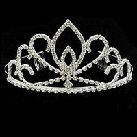 Tiara Rhinestone Wedding Formal Metal Comb 5 Inch Diameter 3 Inch Tall