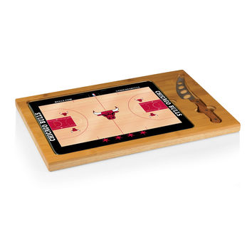 Chicago Bulls - 'Icon' Glass Top Serving Tray & Knife Set by Picnic Time (Basketball Design)
