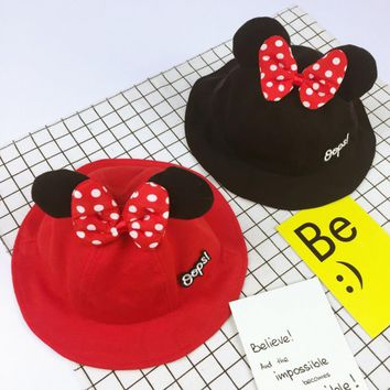 Fashion Cute Spring Autumn Toddler Infant Boys Girls Hat Cartoon Mouse Ear Hat Baby Bowknot Caps Sun Bucket Caps
