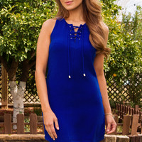 Thelma Lace Up Dress - Blue