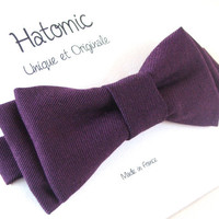 Mens bow tie. Fashion necktie. Purple bowtie. Made in France and ready to ship.