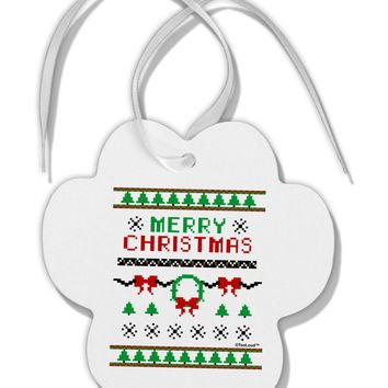 Merry Christmas Ugly Christmas Sweater Paw Print Shaped Ornament