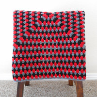 Crochet Baby Blanket - Crochet Lap Afghan - Black, Gray and Red Stroller Blanket - Crochet Granny Square Blanket - Nursery Bedding and Decor
