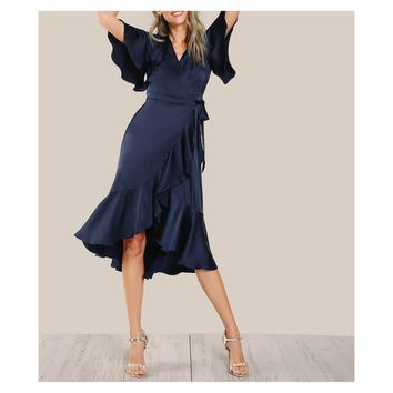 Navy Blue Satin Ruffle Wrap Tie Dress