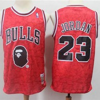 Bape x 23 Michael Jordan Mitchell & Ness Red Hardwood Classics Jerseys