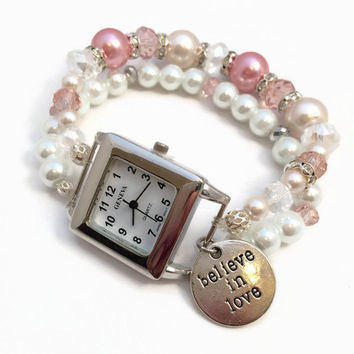 Pink Beaded Watch Bracelet Pink Watch Beaded Bracelet Womens Wrist Watch Stretch Bracelet Pearl Beaded Watch Bracelet (BW1)
