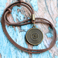 Leather necklace, men necklace, record player, record necklace, gramophone record, gramophone necklace, album necklace, rock'n roll