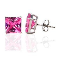 .925 Sterling Silver Princess Cut Pink Cubic Zirconia Stud Earrings