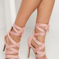 Pink Mock Suede Criss-Cross Strap Stiletto | Heeled Sandals | rue21
