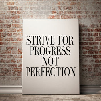 "PRINTABLE""Strive For Progress""typography prints Black & White Workout Quotes Fitness Motivation Health and Fitness Typographic Print Art"