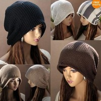 Hip-hop fashion loose wool cap Korea  Chic Baggy Beanie Slouchy Oversized Knit Ski Hat Skull Cap Warm colors MZ2011