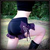 Burning Man Festival Shorts ~ Ruffle and Corset Lace Ties ~ Black Purple Teal ~ Booty Bootie Yoga Hooping Dance Circus Burlesque Sexy Time
