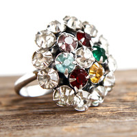 Vintage Rhinestone Ring - Statement Size 5 1/2 Cluster Cocktail Jewelry / Cocktail Color Wheel