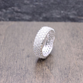 925 sterling silver 6 mm wide eternity engagement band ring with 3-row pave cubic zirconia statement