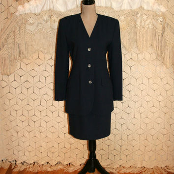 90s Skirt Suit Classic Navy Blue Suit Women Suit Long Fitted Blazer Timeless Minimalist Casual Corner Size 10 Size Medium Womens Clothing
