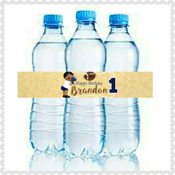 Football 1st birthday customized water bottle labels (digital download) with name! Personalized, 5 on a page, Print as many as you like.